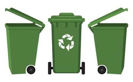 Colorful cartoon garbage box front and side view. Street recycle trash container. Waste disposal themed vector illustration for icon, logo, stamp, label, emblem, certificate, brochure or banner decoration Illustration