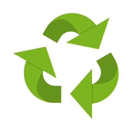 Cartoon green recycle sign. Ecological safe waste disposal. Vector illustration for icon, logo, stamp, label, emblem, symbol, certificate, leaflet, brochure or banner decoration