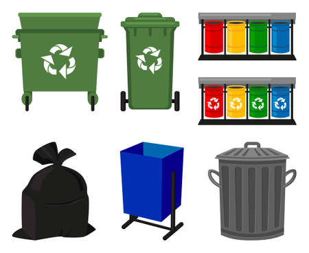 Colorful cartoon trash element collection. Garbage bins and bag. Waste disposal themed vector illustration for icon, logo, stamp, label, emblem, certificate, leaflet or banner decoration Foto de archivo - 116786729