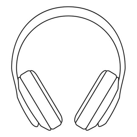 Line art black and white headphones. Personal audio device. Media theme vector illustration for icon, logo, stamp, label, badge, certificate, leaflet, poster, brochure or banner decoration
