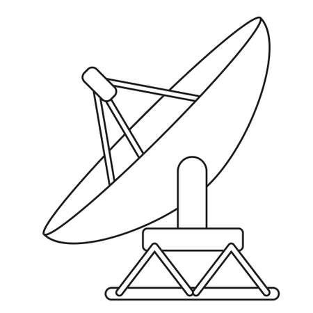 Line art black and white satellite antena. Science radar equipment. Media theme vector illustration for icon, logo, stamp, label, badge, certificate, leaflet, poster, brochure or banner decoration Vectores