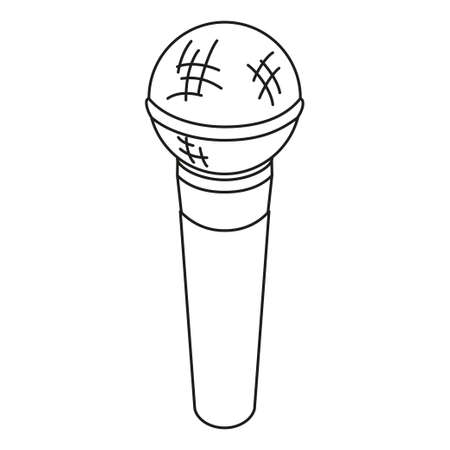 Line art black and white microphone. Voice and music recording device. Media theme vector illustration for icon, logo, stamp, label, badge, certificate, leaflet, poster, brochure or banner decoration Vectores