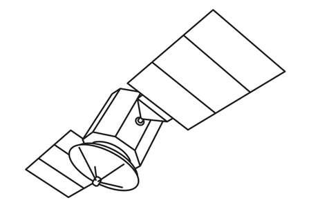 Line art black and white telecommunication satellite. Modern entertainment technology. Media theme vector illustration for icon, stamp, label, badge, certificate, poster, brochure or banner decoration
