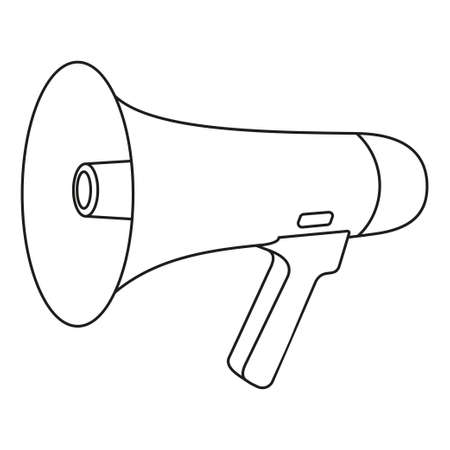 Line art black and white megaphone. Street audio advertising device. Media theme vector illustration for icon, logo, stamp, label, badge, certificate, leaflet, poster, brochure or banner decoration