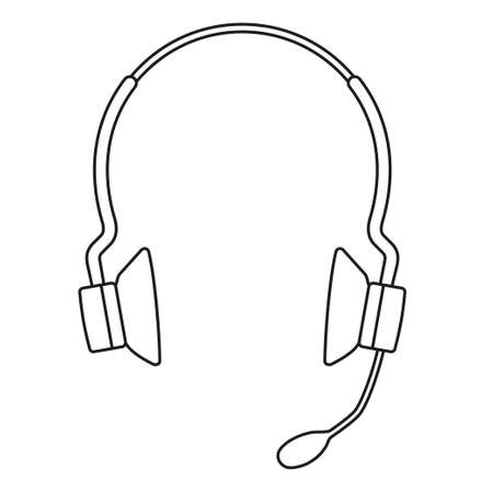 Line art black and white wireless headset. Personal communication device. Media theme vector illustration for icon, stamp, label, badge, certificate, leaflet, poster, brochure or banner decoration