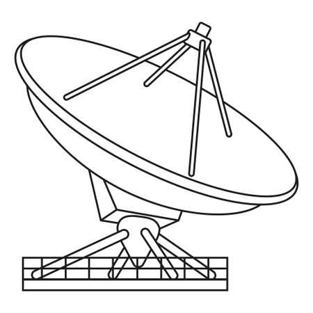 Line art black and white radar antena. Science navigational equipment. Media theme vector illustration for icon, logo, stamp, label, badge, certificate, leaflet, poster, brochure or banner decoration