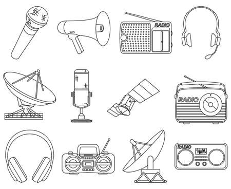 Line art black and white 12 telecommunication elements Modern entertainment technology Media theme vector illustration for icon, stamp, label, badge, certificate, poster, brochure or banner decoration