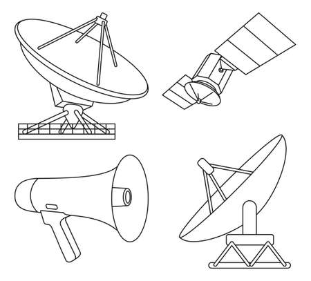 Line art black and white 4 telecommunication elements. Modern entertainment technology Media theme vector illustration for icon, stamp, label, badge, certificate, poster, brochure or banner decoration