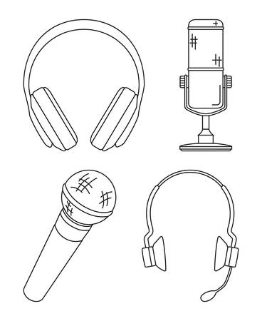 Line art black and white various headset collection. Personal audio device. Media theme vector illustration for icon, logo, stamp, label, badge, certificate, leaflet, poster, brochure or banner decoration Vectores