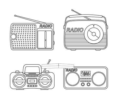 Line art black and white radio element set. Audio entertament retro device. Media theme vector illustration for icon, stamp, label, badge, certificate, leaflet, poster, brochure or banner decoration Vectores