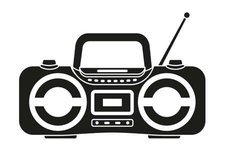 Black and white boombox silhouette. Audio entertament retro device. Media theme vector illustration for icon, logo, stamp, label, badge, certificate, leaflet, poster, brochure or banner decoration Vectores