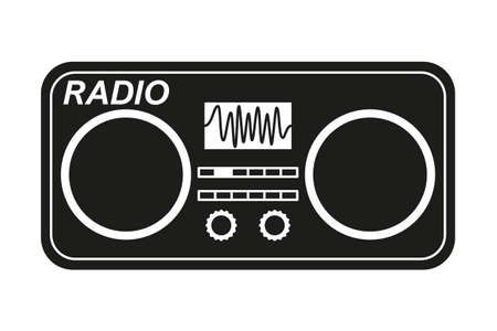 Line art black and white old radio silhouette. Audio entertament retro device. Media theme vector illustration for icon, logo, stamp, label, badge, certificate, leaflet, poster, brochure or banner decoration