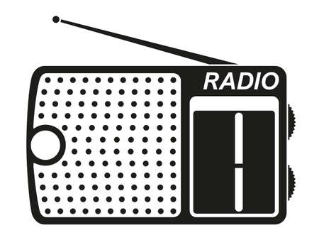 Black and white radio silhouette. Audio entertament retro device. Media theme vector illustration for icon, logo, stamp, label, badge, certificate, leaflet, poster, brochure or banner decoration
