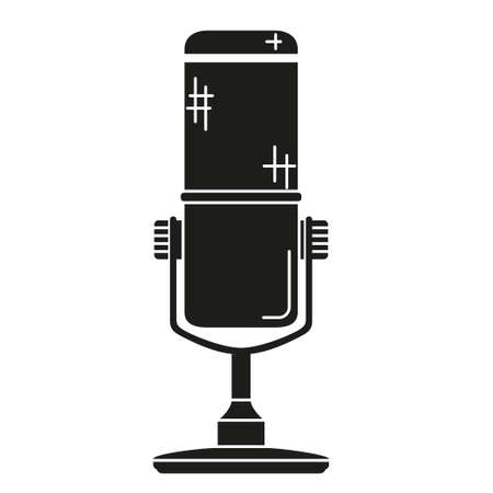 Black and white wireless mic silhouette. Voice and music recording device Media theme vector illustration for icon, logo, stamp, label, badge, certificate, leaflet, poster, brochure or banner decoration