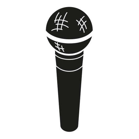 Black and white microphone silhouette. Voice and music recording device. Media theme vector illustration for icon, logo, stamp, label, badge, certificate, leaflet, poster, brochure or banner decoration Ilustração