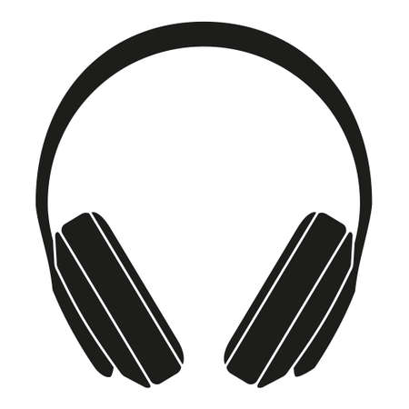 Black and white headphones silhouette. Personal audio device. Media theme vector illustration for icon, logo, stamp, label, badge, certificate, leaflet, poster, brochure or banner decoration