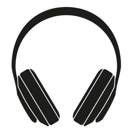 Silhouette de casque noir et blanc. Appareil audio personnel. Illustration vectorielle de thème multimédia pour icône, logo, timbre, étiquette, badge, certificat, dépliant, affiche, brochure ou décoration de bannière Logo