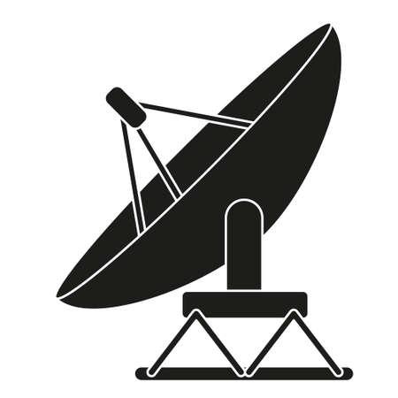 Black and white satellite antena silhouette. Science radar equipment. Media theme vector illustration for icon, logo, stamp, label, badge, certificate, leaflet, poster, brochure or banner decoration