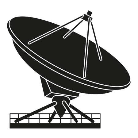 Black and white radar antena silhouette. Science navigational equipment. Media theme vector illustration for icon, logo, stamp, label, badge, certificate, leaflet, poster, brochure or banner decoration