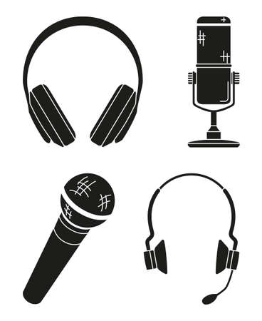 Black and white various headset silhouette collection. Personal audio device. Media theme vector illustration for icon, logo, stamp, badge, certificate, leaflet, poster, brochure or banner decoration