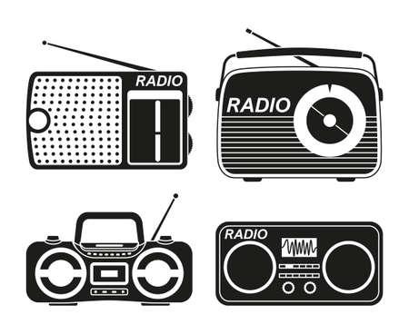 Black and white radio element silhouette set. Audio entertament retro device. Media theme vector illustration for icon, stamp, label, badge, certificate, leaflet, poster, brochure or banner decoration Ilustração