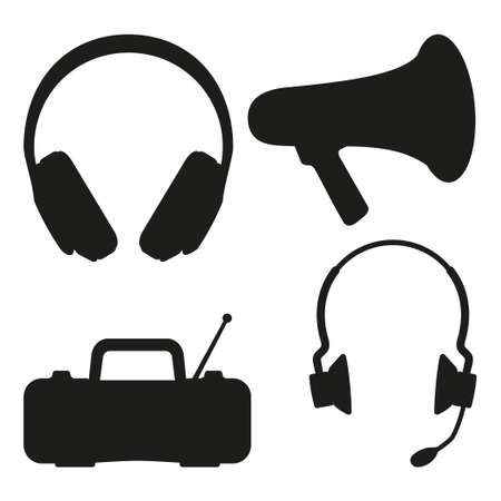 Black and white music tech items silhouette. Personal audio device. Media theme vector illustration for icon, logo, stamp, badge, certificate, leaflet, poster, brochure or banner decoration