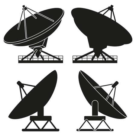 Ensemble de silhouette d'antenne satellite noir et blanc. Équipement radar scientifique. Illustration vectorielle de thème multimédia pour icône, logo, timbre, étiquette, badge, certificat, dépliant, affiche, brochure ou décoration de bannière Logo