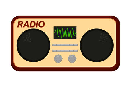 Colorful cartoon old radio. Audio entertament retro device. Media theme vector illustration for icon, logo, stamp, label, badge, certificate, leaflet, poster, brochure or banner decoration
