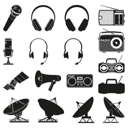 Black and white 17 telecommunication silhouette elements Modern entertainment technology Media theme vector illustration for icon, stamp, label, badge, certificate, brochure or banner decoration Ilustração