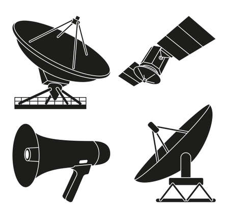 Black and white 4 telecommunication silhouette elements. Modern entertainment technology Media theme vector illustration for icon, stamp, badge, certificate, poster, brochure or banner decoration