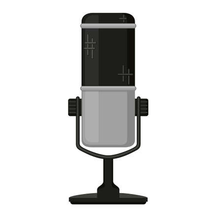 Cartoon wireless mic. Voice and music recording device Media theme vector illustration for icon, logo, stamp, label, badge, certificate, leaflet, poster, brochure or banner decoration Ilustração