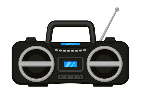 Colorful cartoon boombox. Audio entertament retro device. Media theme vector illustration for icon, logo, stamp, label, badge, certificate, leaflet, poster, brochure or banner decoration