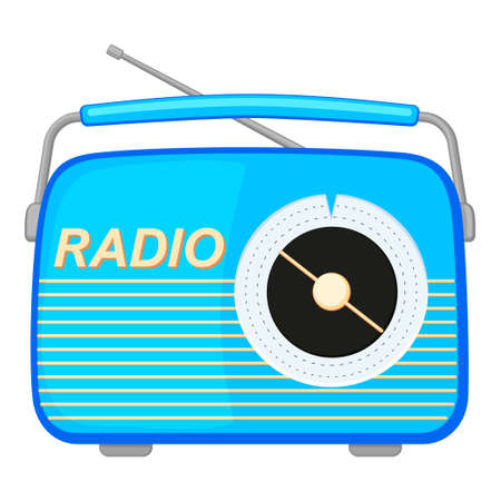 Colorful cartoon retro radio. Audio entertament retro device. Media theme vector illustration for icon, logo, stamp, label, badge, certificate, leaflet, poster, brochure or banner decoration