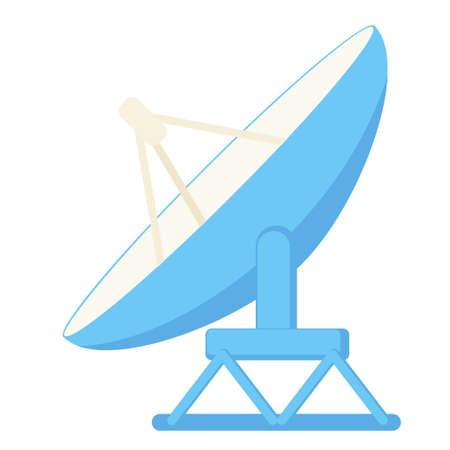 Cartoon satellite antena. Science radar equipment. Media theme vector illustration for icon, logo, stamp, label, badge, certificate, leaflet, poster, brochure or banner decoration