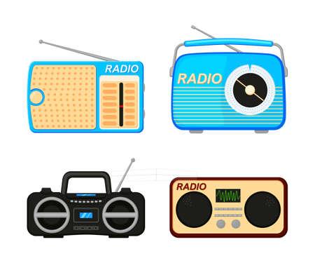 Colorful cartoon radio elements set. Audio entertament retro device. Media theme vector illustration for icon, stamp, label, badge, certificate, leaflet, poster, brochure or banner decoration