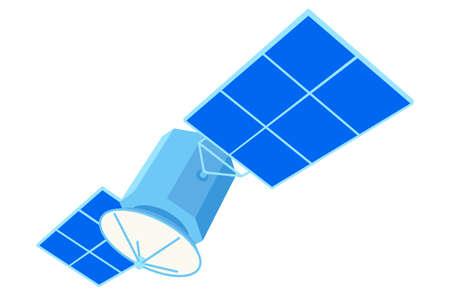 Colorful cartoon communication satellite. Modern entertainment technology. Media theme vector illustration for icon, stamp, label, badge, certificate, poster, brochure or banner decoration Ilustração