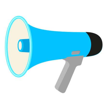 Colorful cartoon megaphone. Street audio advertising device. Media theme vector illustration for icon, logo, stamp, label, badge, certificate, leaflet, poster, brochure or banner decoration