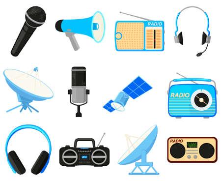 Colorful cartoon 12 telecommunication elements Modern entertainment technology Media theme vector illustration for icon, stamp, label, badge, certificate, brochure or banner decoration Ilustração
