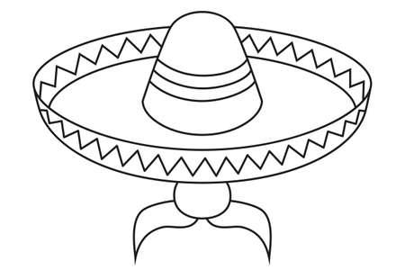 Avatar de hombre mexicano blanco y negro de arte de línea. Fiesta carnaval sombrero y bigote. Ilustración de vector de tema de México para decoración de icono, sello, etiqueta, insignia, certificado, folleto, folleto o banner Ilustración de vector