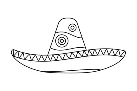 Line art black and white mexican hat. Fiesta carnival clothing. Mexico theme vector illustration for icon, stamp, label, badge, certificate, leaflet, poster, brochure or banner decoration