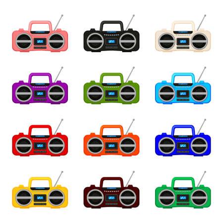 Colorful cartoon boombox collection. Audio entertament retro device. Media theme vector illustration for icon, logo, stamp, label, badge, certificate, leaflet, poster, brochure or banner decoration Ilustração