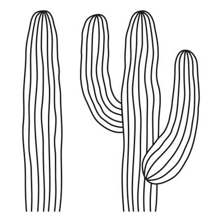 Line art black and white mexican cactus. Wild succulent plant. Mexico theme vector illustration for icon, stamp, label, badge, certificate, leaflet, brochure or banner decoration
