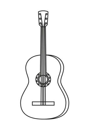 Line art black and white acoustic guitar. String musical instrument. Mexico theme vector illustration for icon, stamp, label, badge, certificate, leaflet, brochure or banner decoration