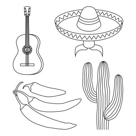 Line art black and white 4 mexican elements. Fiesta carnival set. Mexico theme vector illustration for icon, stamp, label, badge, certificate, leaflet, brochure or banner decoration 向量圖像
