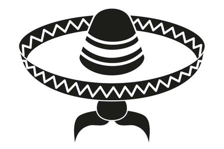 Black and white mexican man avatar silhouette. Fiesta carnival hat and moustache. Mexico theme vector illustration for icon, stamp, label, badge, certificate, leaflet, brochure or banner decoration