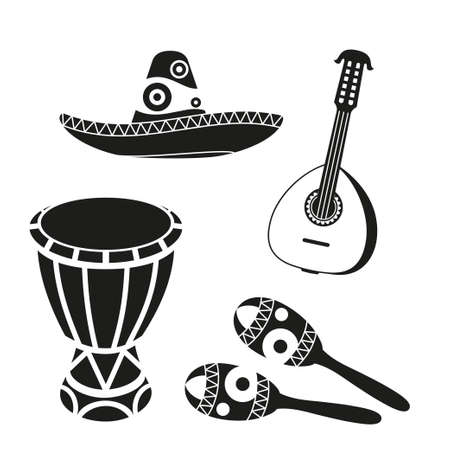 Black and white mexican music set. Fiesta carnival elements. Mexico theme vector illustration for icon, stamp, label, badge, certificate, leaflet, brochure or banner decoration