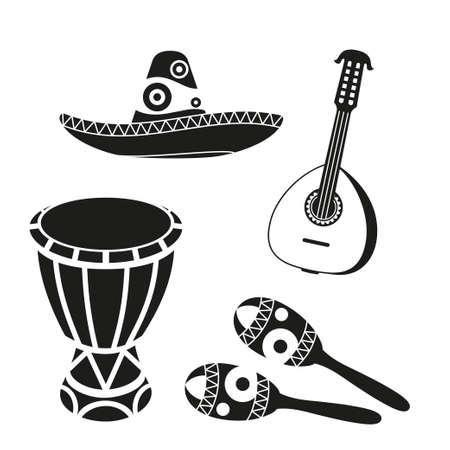 Conjunto de música mexicana en blanco y negro. Elementos de fiesta de carnaval. Ilustración de vector de tema de México para decoración de icono, sello, etiqueta, insignia, certificado, folleto, folleto o banner