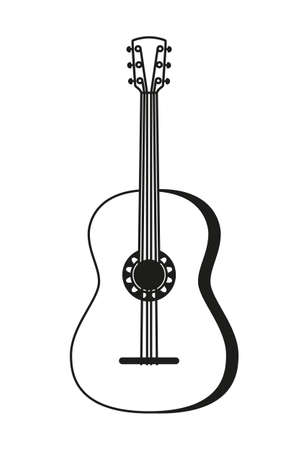 Black and white acoustic guitar. String musical instrument. Mexico theme vector illustration for icon, stamp, label, badge, certificate, leaflet, brochure or banner decoration