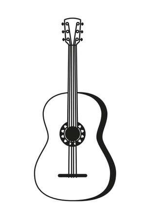 Schwarze und weiße Akustikgitarre. Saitenmusikinstrument. Mexiko-Thema-Vektorillustration für Symbol, Stempel, Etikett, Abzeichen, Zertifikat, Broschüre, Broschüre oder Bannerdekoration