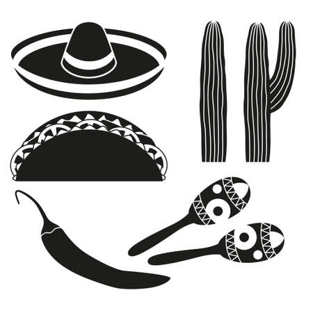 Black and white 6 mexican elements. Fiesta carnival set. Mexico theme vector illustration for icon, stamp, label, badge, certificate, leaflet, brochure or banner decoration